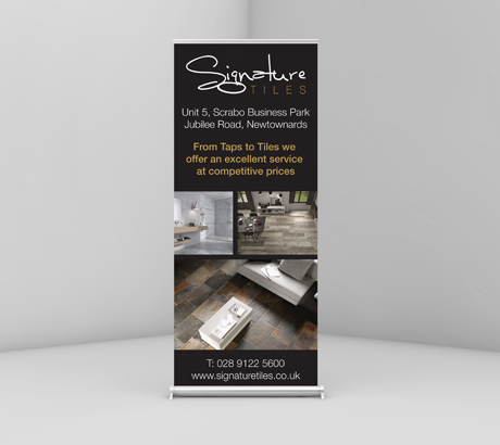A mock up of a signature tiles pop up stand