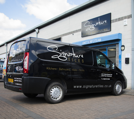 A picture of the signature tiles van